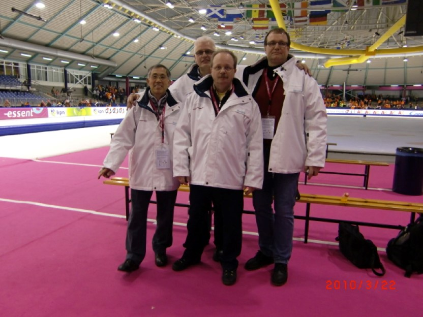 De fire starterne under Marcels siste VM i Heerenveen 2010. Junichi Takano (Japan), Jan Zwier (Nederland), Klaus-Dieter Kaergel (Tyskland)