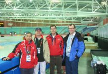 Startere under OL i Torino 2006, Marcel sammen med Junichi Takano (Japan), Luigi Casal (Italia), Rob Hemmes (Nederland)